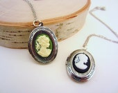 LAST ONE Silver locket necklace with green cameo. Silver or bronze chain. Friendship necklace, best friend gift.