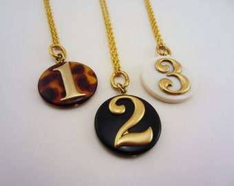 Best friend gift, sister gift. Number necklaces in white, tortise shell, black. Gold toned necklaces. Friendship necklaces.