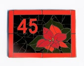 Jumbo Mosaic House Number, Outdoor House Number Plaque, Ceramic Tile House Number, Mailbox Number POINSETTIA Mosaic Mailbox