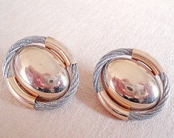 Vintage Gold Earrings, Jewelry, Gold tone and Silver Clip on Earrings Egg Earrings