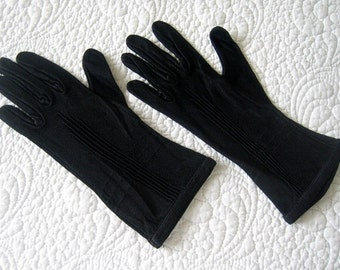 GLOVES Vintage Dress Up Costume Authentic Retro Long Formal Antique Black Silk