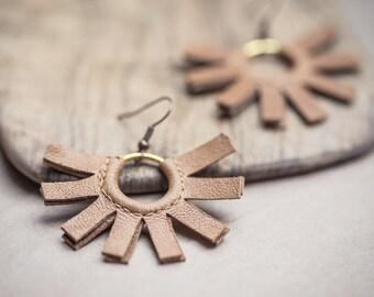 Beige Leather Earrings Tribal Fringe fan copper boho bohemian jewelry
