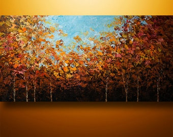 Abstract Painting, Birch Painting, Original Painting, Tree Painting, Palette Knife Painting, Large Painting, Wall Decor, Wall Art, Gabriela