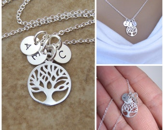 Tiny initial necklace - Family Tree necklace - Dainty Mom necklace - Mother's day gift - Photo NOT actual size