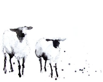 LIMITED edition print 0f painting ink drawing SHEEP 1230wall art, home decor, nursery art, wildlife animal art.  hand signed