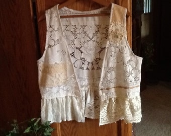 Shabby Chic lace vest, cream color, ruffle, ooak