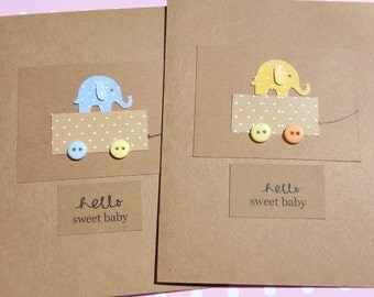Baby Shower Cards - Baby Shower Thank You Cards - Welcome Baby Cards - Baby Polka dot Elephant Cards -  Baby Shower Invitations -  KPEC