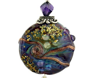 Lampwork Glass Bead Pendant, Sterling Silver Blue Purple Fuchsia with Swarovski Crystals
