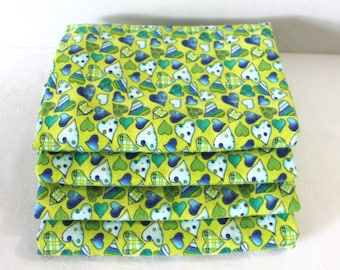 Lime Green Blue Hearts Baby Receiving Blankets Swaddlers Set of 4 XL Size Baby Gift Set Gender Neutral Boy or Girl