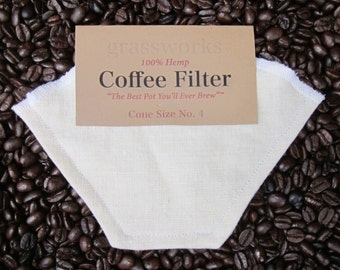"Reusable Hemp Coffee Filter Cone Size 4 ""The Best Pot You'll Ever Brew"" tm"