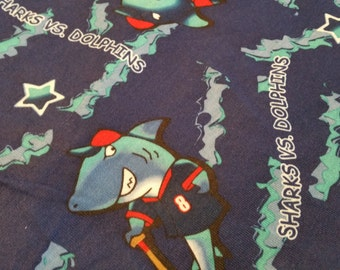 Sharks and Dolphins Knit Fabric