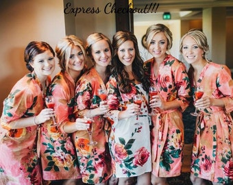 Coral  Bridesmaids Robes, Kimono Crossover Robes, Spa Wraps, Bridesmaids gift, getting ready robes, Bridal shower party favors, Floral