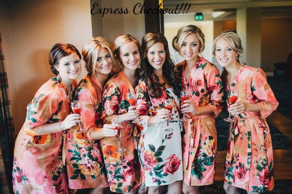 Coral Bridesmaids Robes Kimono Crossover Robes Spa Wraps