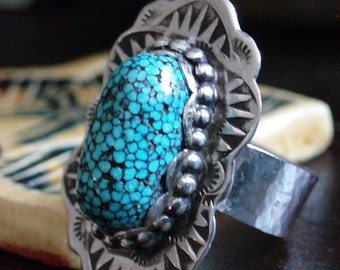 Southwestern Kingman SpiderwebTurquoise Sterling Silver Ring