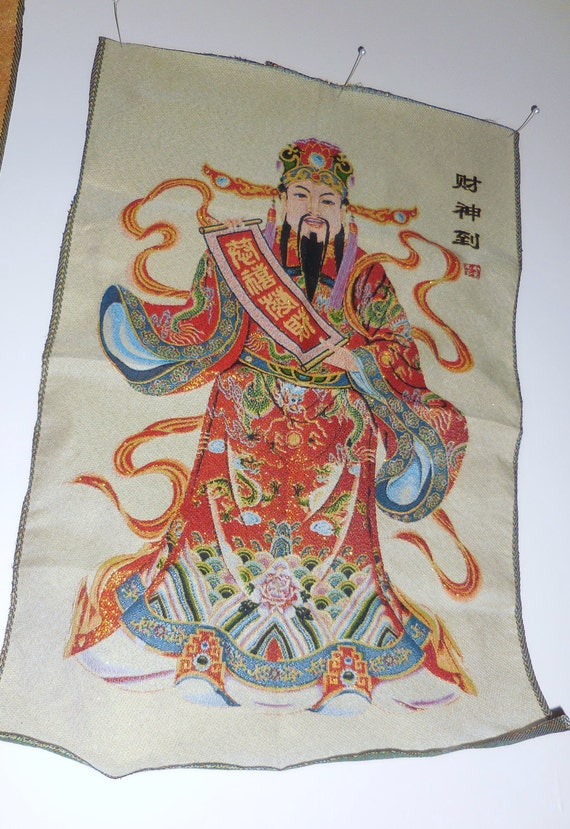 Vintage silk wall decor altar thanga tangka wealth buddhism for Altar wall decoration