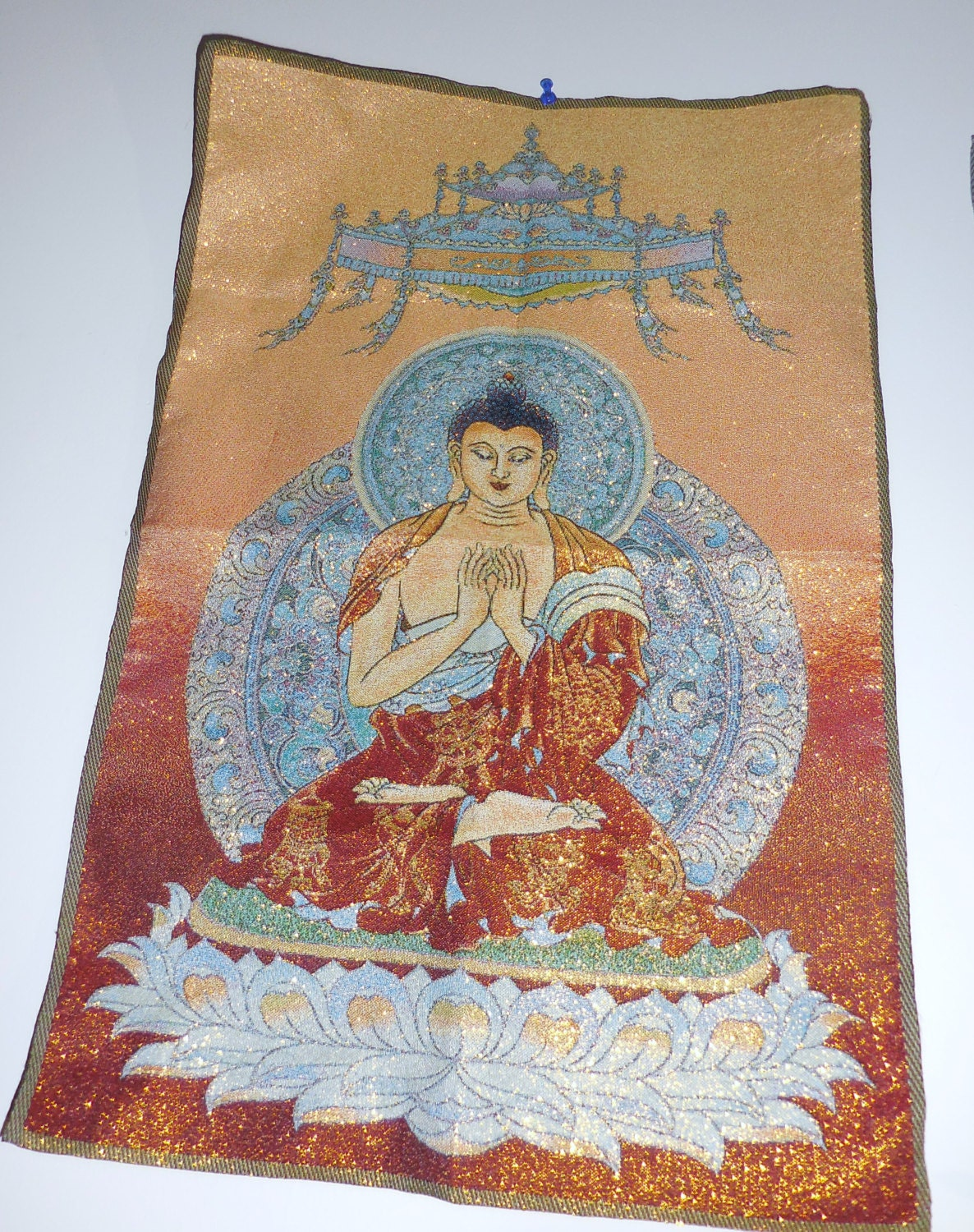Tibet buddha altar silk cloth thangka wall decor buddha for Altar wall decoration