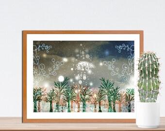 Rise Fine Art Print - Fox Artwork - Wall Art - Home- Office - Art Print for All - Illustrated Artwork - Gift for Fox Lovers