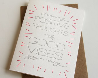 Letterpress Sympathy - Encouragement Card - Good Vibes