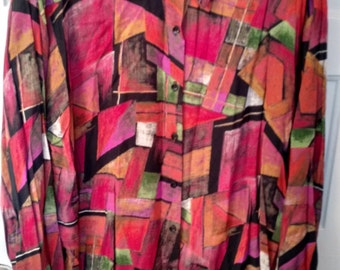rayon geometric shirt blouse 80s avant garde Jeri Marque 38 large 1980s art