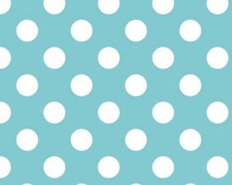Aqua Medium Dots Fabric by Riley Blake Designs - by the Yard - 1 Yard - Aqua Dots - Aqua and White