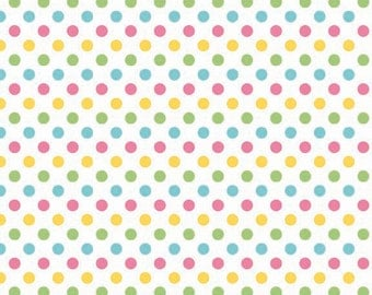 Girl Small Dots Fabric by Riley Blake Designs - Pink, Yellow, Green, Aqua - Half Yard - 1/2 Yard - C3350-03