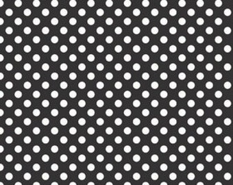 Black Small Dots Fabric by Riley Blake Designs - by the Yard - 1 Yard - Black and White - C350-110