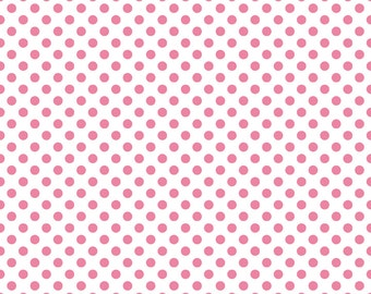 Hot Pink Small Dots on White Fabric by Riley Blake Designs - Half Yard - 1/2 Yard - C480-70