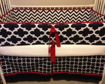 Navy red chevron nautical Baby Bumper Pad Crib Set DEPOSIT Down payment ONLY read details