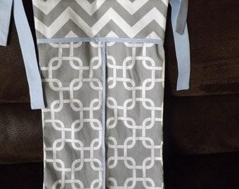 Diaper stacker holder crib gray baby blue