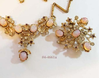 FREE SHIP Glamorous Pink Opal Cabochon Necklace and Brooch Set (4-4661)