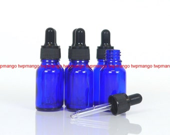 6 x 1/2 oz Cobalt Blue Glass Bottle Boston Round with Glass Dropper (15ml) For Essential Oil  H163-6