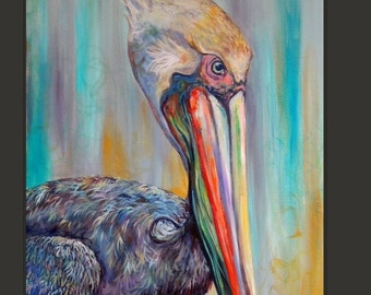 Big beautiful colorful pelican 24x36 in size by reddawn designs