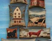 Set of 8 Primitive Folk Art Themed Ornies Tucks Bowl Fillers