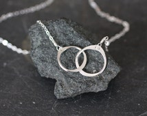 simple silver necklace, minimal silver necklace, two small circles, connected circles, delicate necklace, dainty necklace, bridesmaids gift
