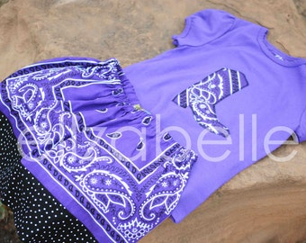 Purple Bandana Skirt Set Custom Sizes 12m 2 T, 3 T, 4 T with Cowboy Boot, Horse Head, Western Star Applique Purple Shirt for your Cowgirl