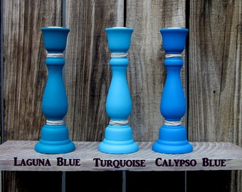 Taper Candle Holders, Set of Three, Blue Candleholders, Shades of Blue, Painted Wood, Beach House Decor, Nautical, Home Decor