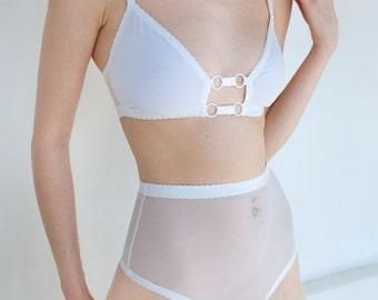 Basic high waist Thong, white black mesh - Kayleigh Peddie