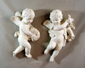 Pair of Plaster Cherubs, Cherub Wall Hangings
