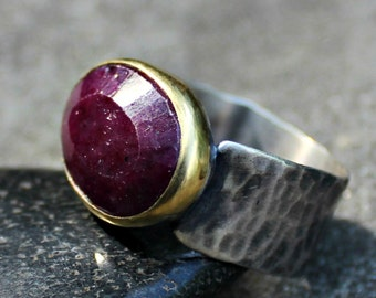 Ruby Ring - Rose Cut Ruby Ring - Ruby Gold Bezel Ring -  Big Ruby Ring -Hammered Sterling Silver Band- US Size 10.5