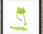 Leaping Frog, Bible Verse art print, scripture design, hand lettered typography, wall art decor