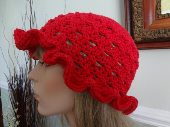 Crochet Hair For Adults : Red Crochet Adult Cotton Sun Hat. Great for Beach, Pool. Wet Hair not ...