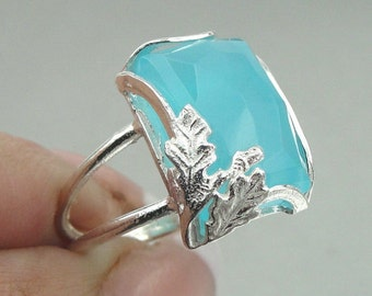 SALE! Israel Handmade Streling Silver ocean quartz stone Unique Ring (r10005oq