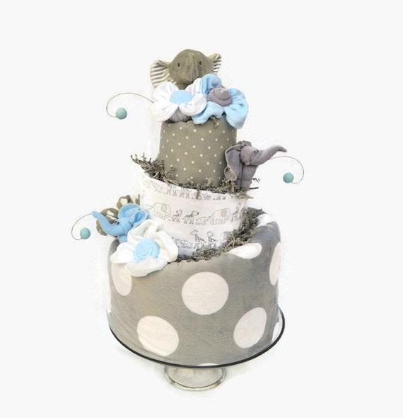 Elephant Baby Shower Decorations, Baby Boy Shower Centerpieces, Elephant Shower Decor, Blue and Gray Diaper Cake, Cake Table Centerpiece
