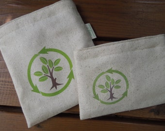 Reusable sandwich bag -  Unbleached cotton reusable sandwich bag - Reuse snack bag - Recycle on natural unbleached cotton