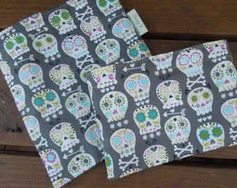 Reusable sandwichand/or snack bag - Ecofriendly sandwich bag - Reusable snack bag - Reusable fabric sandwich bag - Day of the dead