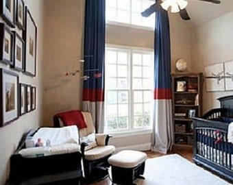 Pair ( two 50W panels) cotton curtains, drapes, color block navy blue red white or choose your own colors
