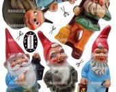 Digital Download Vintage Garden Gnomes - realistic photo reproductions
