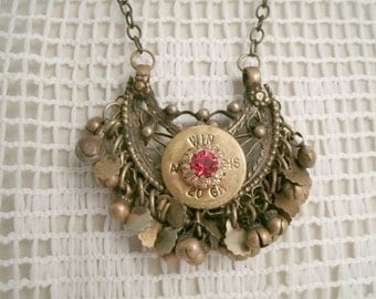 Winchester 20 guage Kuchi Bell Necklace Upcycled Vintage Antique Brass Base with Red fauceted and clear crystal Sets