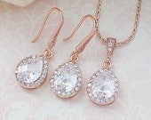 Wedding Jewelry Bridal Jewelry Bridal Earrings Rose Gold Lux Cubic Zirconia Tear drop Dangle Earrings Necklace Jewelry set Bridesmaid gift