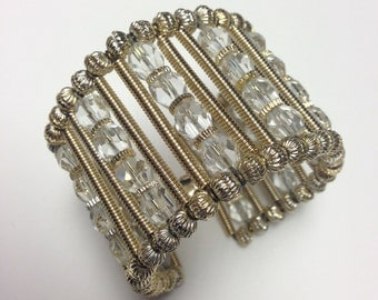 20% Off SALE Coupon Code FAVORITE20 Vintage 1960s Wide Crystal And Gold Bead Cuff